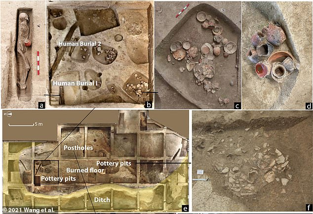 Scientists have found evidence of beer drinking 9,000 years ago in southern China that was likely part of a ritual to honor the deceased.Two human skeletons (b) were also found along with 20 pottery vessels, some of which were decorated