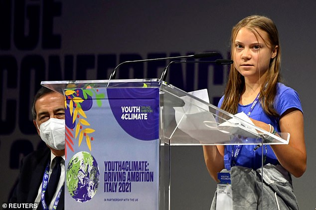 Greta Thunberg mocked world leaders and their 'empty promises' on climate change when she addressed a youth summit in Milan today