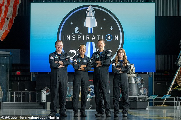 The Inspiration4 crew (L-R) Chris Sembroski, Sian Proctor, Jared Isaacman and Hayley Arceneaux pose for a photo. - The Inspiration4 mission will send only civilians into space for several days aboard a SpaceX rocket