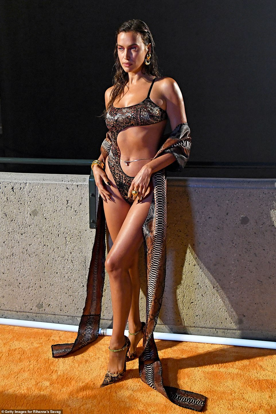 Wild side:Irina commanded attention in a sexy snakeskin bodysuit with a large cut-out across the front that exposed her taut midriff