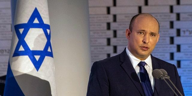 Israeli Prime Minister Naftali Bennett speaks in Jerusalem, Sunday, Sept. 19 2021. (Associated Press)