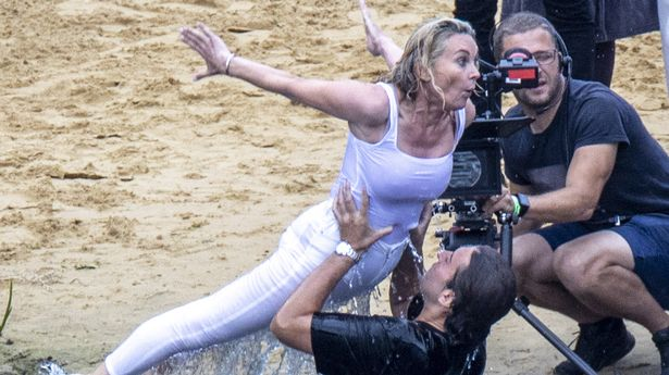James 'Arg' Argent and Anthea Turner couldn't stop laughing as they tried to recreate the famous Dirty Dancing lift for their new television show The Real Dirty Dancing in a lake in Norfolk