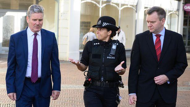 Labour Party leader Keir Starmer, Chief Inspector Sarah Leadbeatter and Shadow Home Secretary Nick Thomas-Symonds