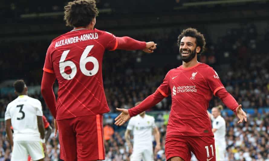 Mohamed Salah celebrates after scoring his 100th Premier League goal
