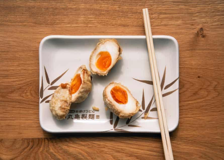The tempura egg at Marugame Udon.