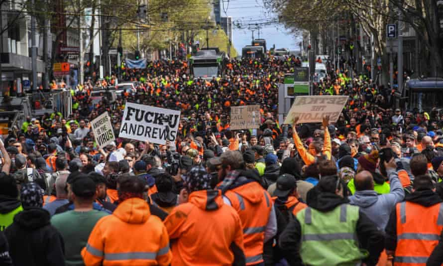 Construction workers and demonstrators attend an anti-lockdown protest in Melbourne