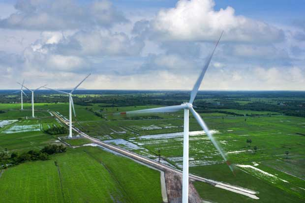 BCPG's wind power facilities in Nakhon Si Thammarat. The company joins other companies in developing a wind farm in southern Laos. (BCPG photo)