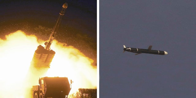 This combination of photos provided by the North Korean government on Monday shows long-range cruise missile tests being held on Sept. 11-12, 2021 in an undisclosed location of North Korea.