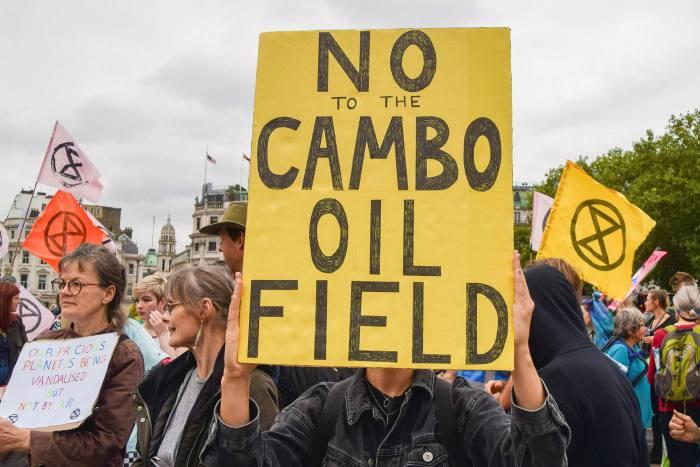 Protesters in Trafalgar Square against Cambo's development