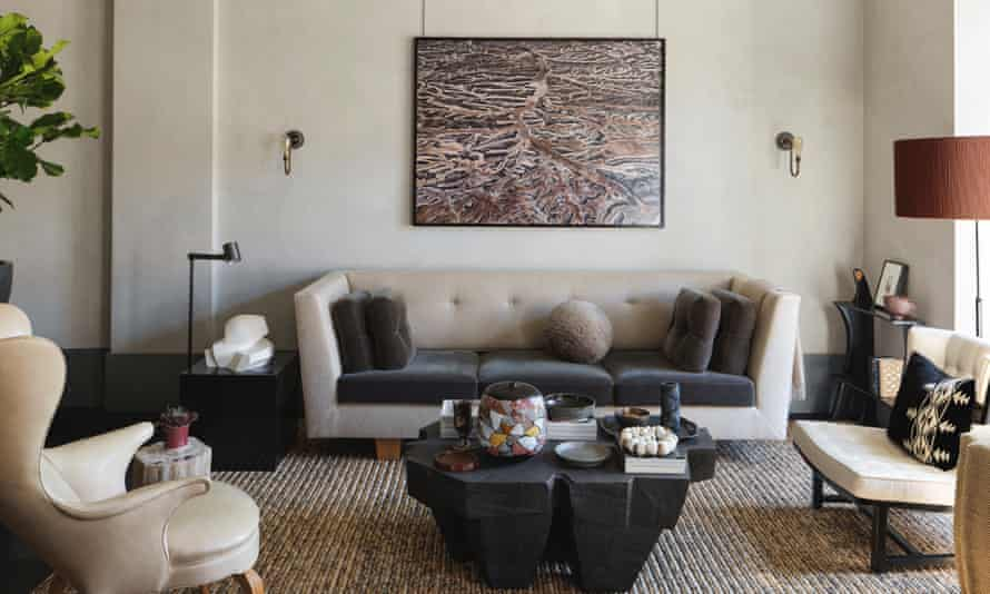 Living room with large artwork above the sofa