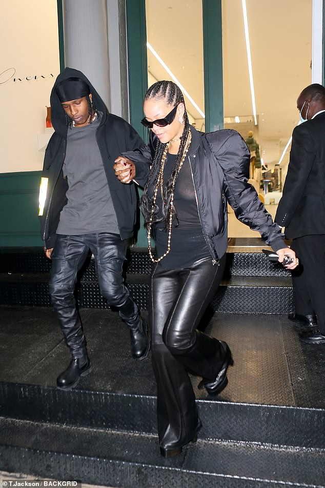 Stylish pair:Rihanna and her boyfriend A$AP Rocky continued their fashion parade on Friday afternoon in New York City
