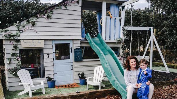 Gemma built the playhouse from scratch