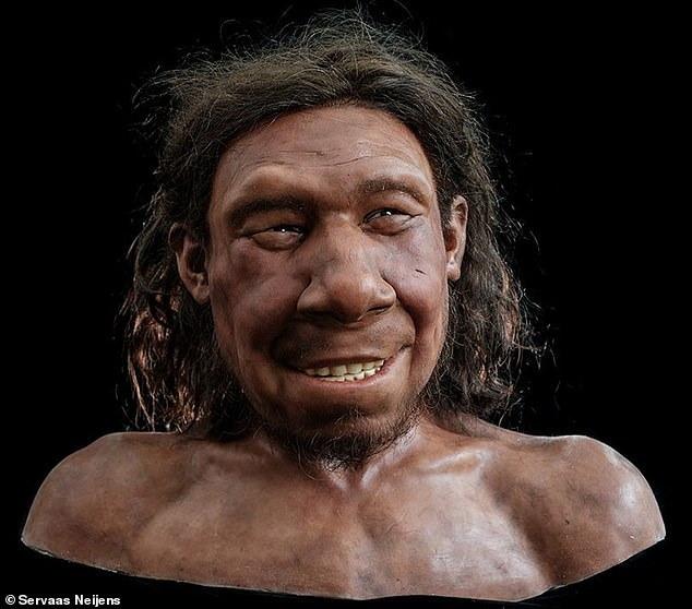 The cheery reconstructed face of Krijn, a maleNeanderthal called Krijn who lived and died up to 70,000 years ago