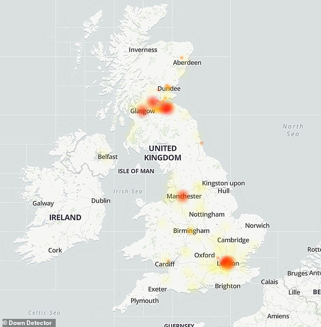 Sky is back online following a two-hour outage that left users across East and Central Scotland unable to access the internet
