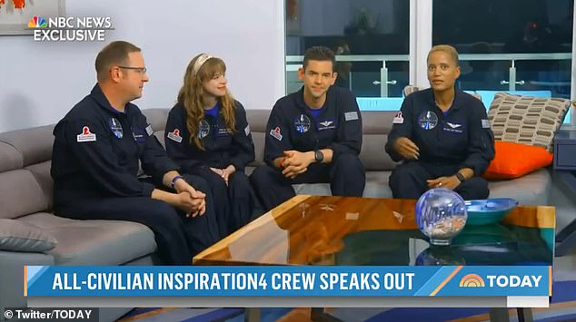 The all-civilian crew of SpaceX's Inspiration4 mission said the three-day trip to space was 'awe-inspiring' and 'emotional' in their first interview since returning to Earth