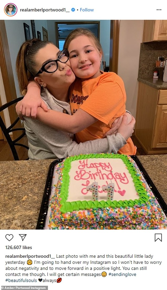 Strained: Amber Portwood, 31, revealed on Tuesday's Teen Mom OG premiere that her relationship with her daughter Leah, 12, was 'struggling' after they hadn't seen each other in 'quite some time'