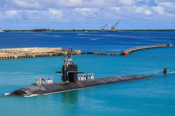 The Los Angeles-class fast attack submarine USS Oklahoma City (SSN 723) returns to US naval base in Guam