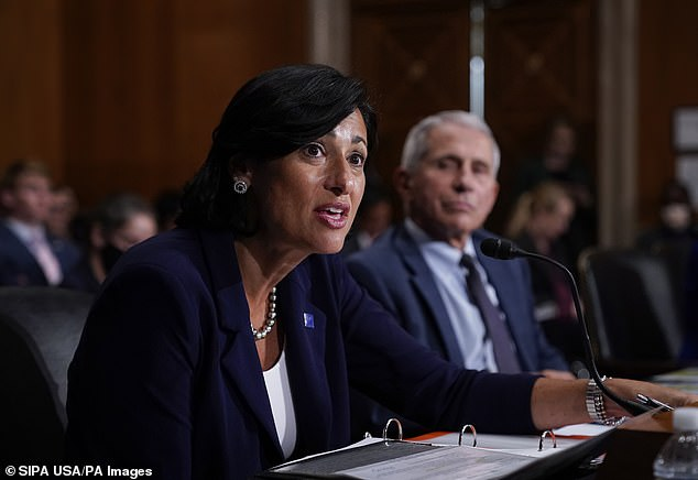 Biden administration officials are supporting the planned vaccine booster shot rollout with unpublished data from Israel, POLITICO reports. Pictured: Dr Rocelle Walensky (CDC Director) and Dr Anthony Fauci testify before the Senate, July 2021