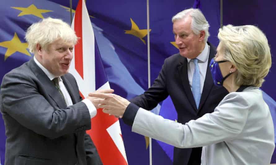 Michel Barnier with Boris Johnson and Ursula von der Leyen, Brussels, 2020.