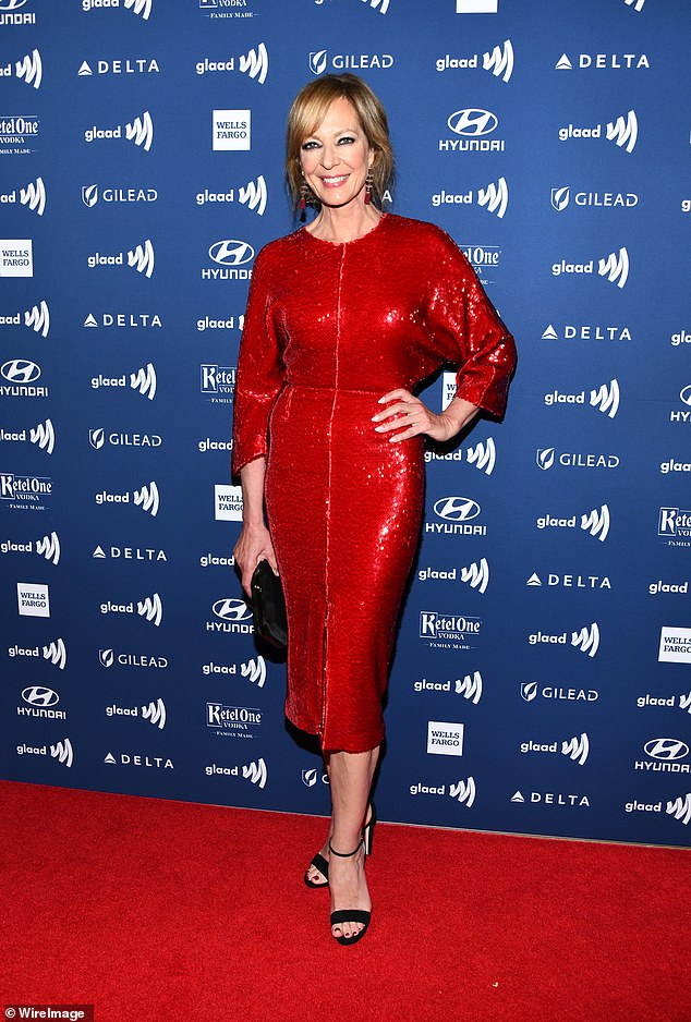 That's one way to sparkle:Actress Allison Janney, 59, attended the 30th annual GLAAD Media Awards in a glittering red gown at the Beverly Hills Hotel on Thursday