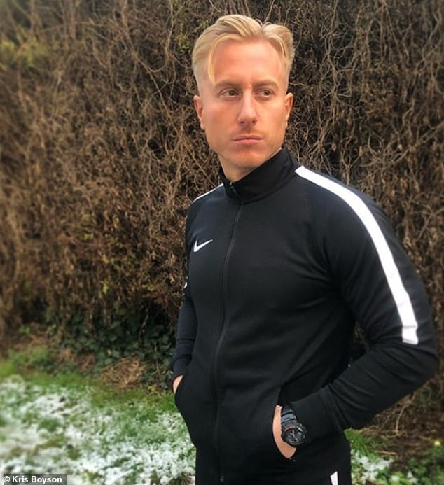 Honest: Kris Boyson, 32, has candidly discussed his decade long battle with depression admitting that at he attempted to 'run in front of an oncoming car' after hitting 'rock bottom'
