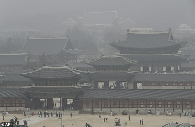 South Korea's president, Moon Jae-in, proposed a joint project with China to combat the alarming spike in pollution which has seen Seoul shrouded in smog (pictured)