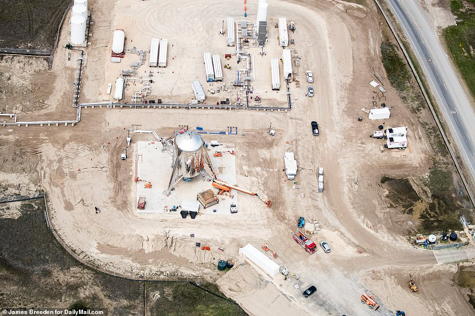Pictured is another view of the Starhopper prototype situated on the launch pad at SpaceX's Boca Chica test site.During tests, it will be pumped with liquid methane and oxygen propellant and will use one of SpaceX's powerful Raptor engines