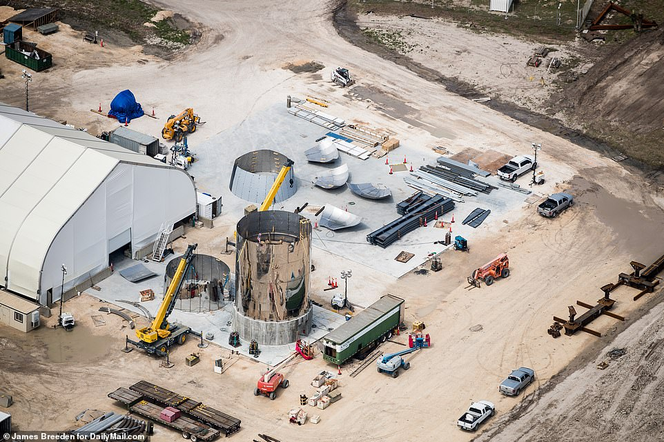 Pictured is a separate component from the Starhopper prototype and what appears to be sections of a nosecone that could be installed on the Starship. Musk said the firm won't install a new nosecone on the hopper following an earlier incident
