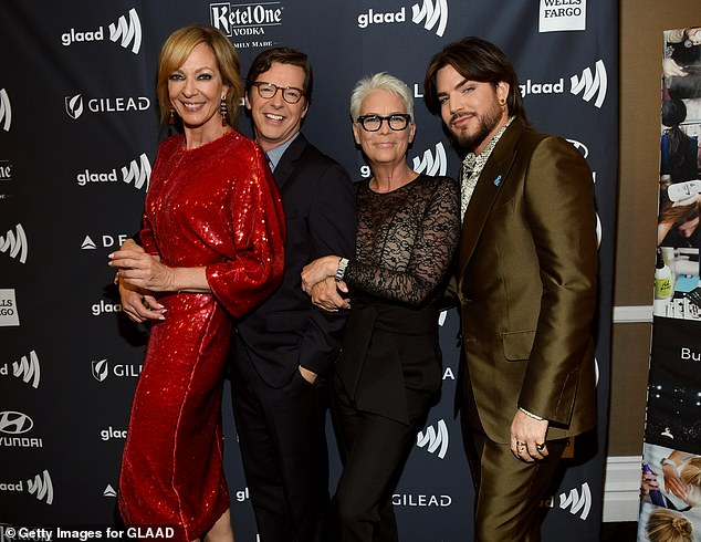 Famous friends:Ever the social butterfly, she was also spotted stopping for a chat with showbiz pals including Jamie Lee Curtis (second right) and Adam Lambert (R)
