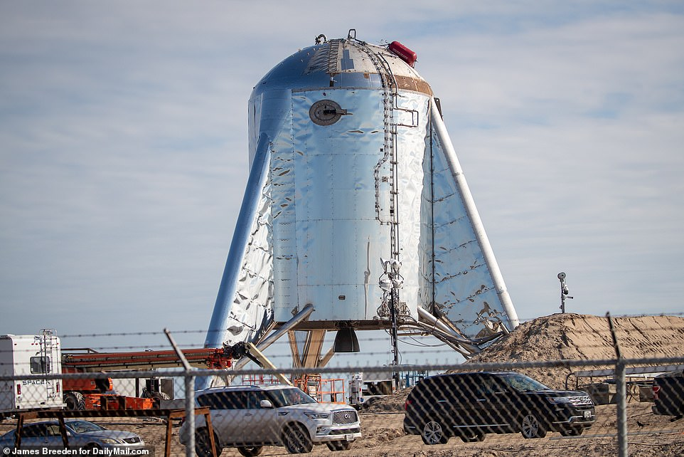 SpaceX was expected to conduct hop tests on Thursday, with a six-hour launch window opening at 10a.m. (CST) and lasting through 4p.m. (CST) but it was pushed back. Pictured above the Boca Chica test site near Brownsville, Texas, on Thursday