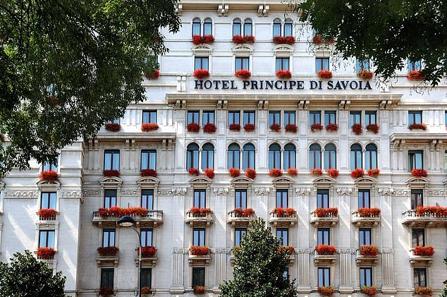 Clooney said he's 'learned over years of dealing with murderous regimes that you can't shame them'. 'But you can shame the banks, the financiers and the institutions that do business with them and choose to look the other way.' Pictured is the Hotel Principe di Savoia in Milan