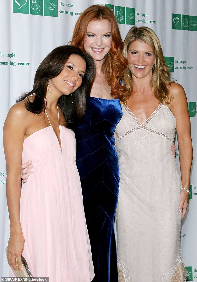 With more TV stars: In 2005 Loughlin posed with Eva Longoria and Marcia Cross of Desperate Housewives fame