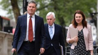 Sir Keir Starmer and other shadow cabinet members outside the Cabinet Office