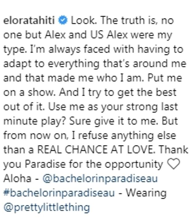 Emotional: Elora shared this emotional post about her quest for love after being publicly rejected on Bachelor In Paradise this Tuesday night