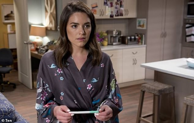 A return? 'With the 35 years of Neighbours coming up soon... maybe I'll ask to come back,' Olympia said, hinting she could make a return to the beloved soap. Pictured as Paige