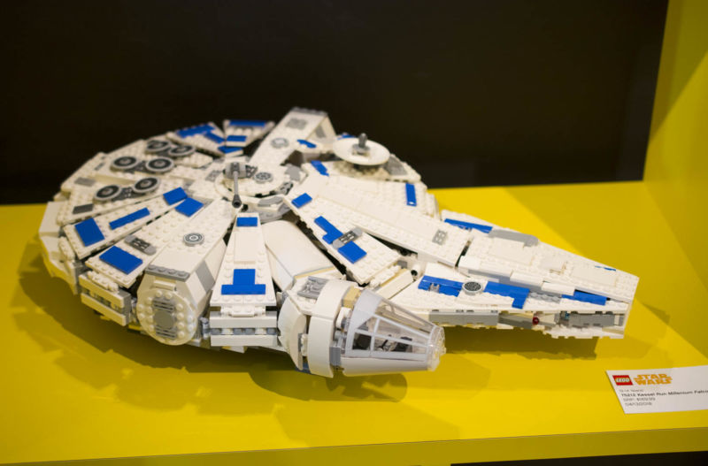 LEGO Kessel Run Millenium Falcon completed set sitting on a yellow table.