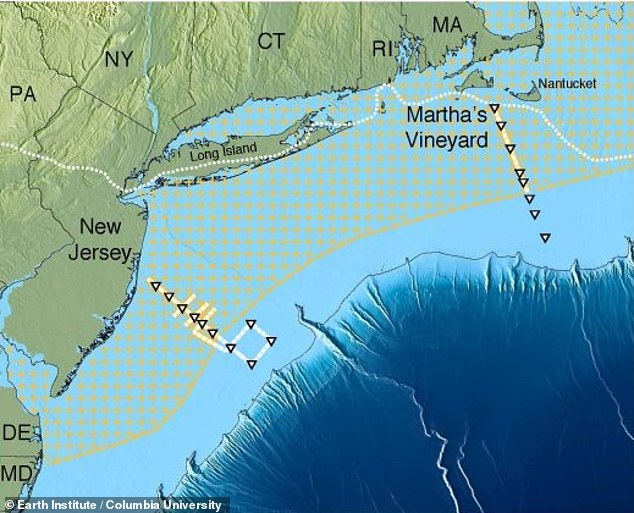 A giant reserve of fresh water has been confirmed off the coast the US, hidden beneath the surface. Its extent is plotted in the hashed area of the map above
