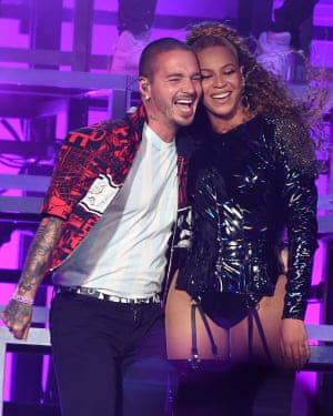 Balvin and Beyonce at Coachella in 2018.
