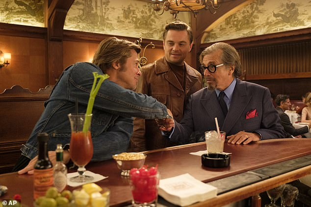 In character: Brad and Leo in a scene from the movie with none other than Al Pacino