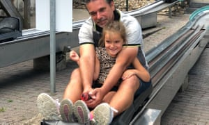 Majella's daughter, Febe, tobogganing with dad Ronald