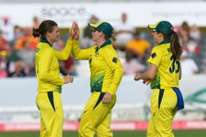 Jess Jonassen of Australia celebrates taking the wicket of Tammy Beaumont of England.