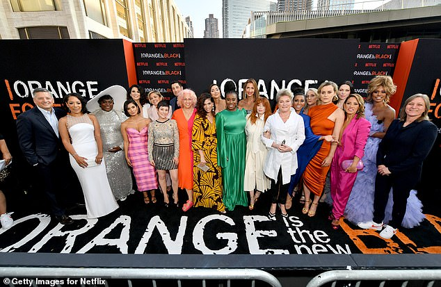 End of an era: Earlier this week, Manning skipped the OITNB premiere for the seventh and final season after revealing that she was recovering from a cyber attack that caused her tremendous emotional distress; the cast are pictured at the NYC premiere