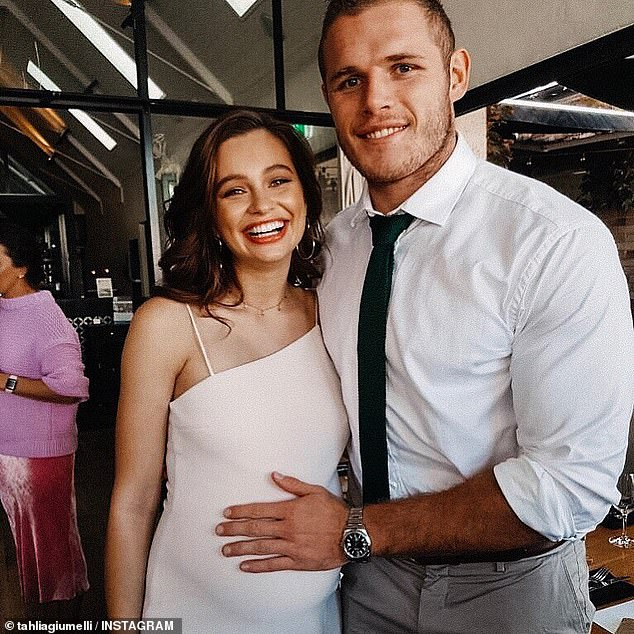 New parents: Tom and Tahlia (pictured)are expecting to meet their newborn in the next two weeks, with the due date being August 11