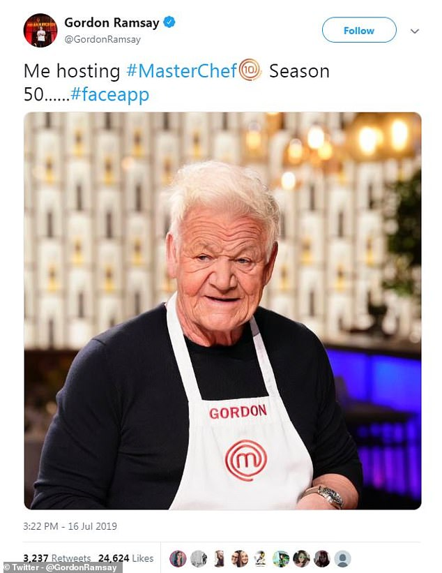 The terms and conditions of the app essentially gives FaceApp access to use, modify, adapt and publish any images that you offer up in exchange for its AI. Here, Gordon Ramsay posted this amusing pic on his Twitter