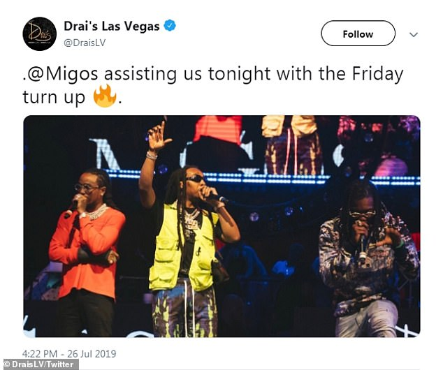 Long-distance love: Her husband Offset (R) is in Nevada this weekend with his Atlanta rap trio Migos headlining a couple of parties at Drai's Beachclub & Nightclub in Las Vegas