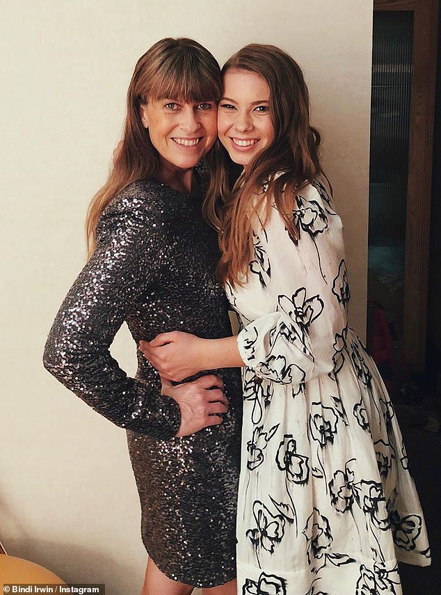 Adorable:And when it comes to a traditional father-daughter dance, Bindi will be glad to have her mother Terri (L) stand in for Steve. Here they are in an Instagram photo posted recently