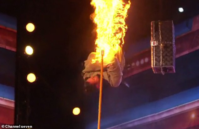 Dangerous!Apollo was suspended upside down in a straitjacket above a bed of flaming spikes for the escape stunt (pictured)