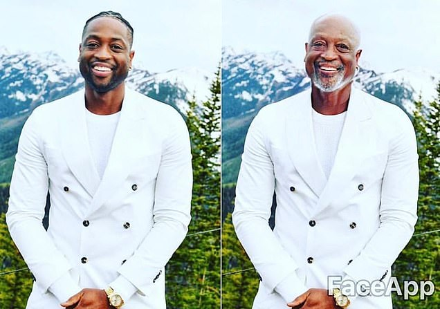 Loving it: Dwyane Wade posted his own fast-forward image with the caption 'Grandpa Wade huh'