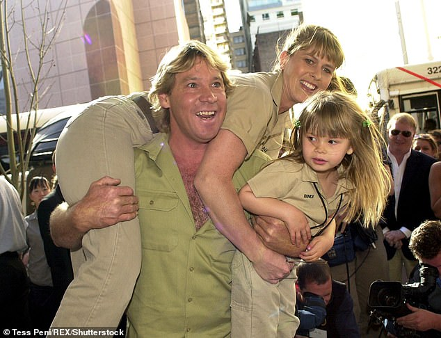 Remembered: Bindi said goodbye to her late father, 'Crocodile Hunter' Steve Irwin (center) back in 2006 after a tragic accident when she was eight years old