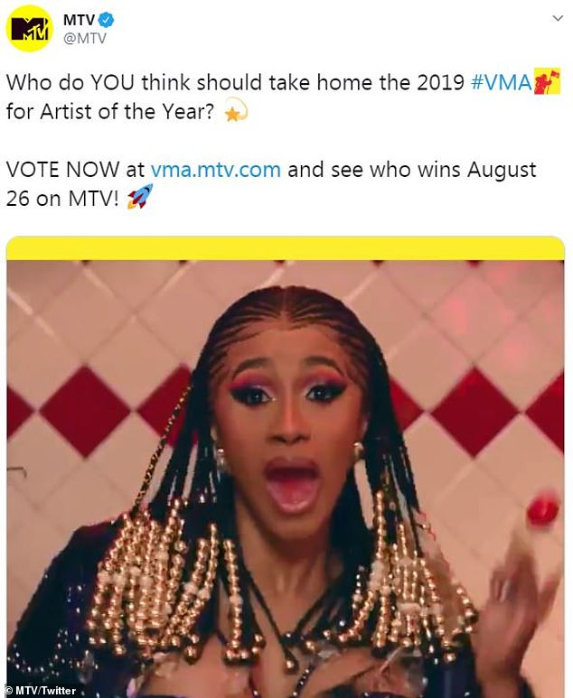 Will she win? Cardi is also up for six trophies - including artist of the year - at the MTV Video Music Awards airing live August 26 from Newark's Prudential Center